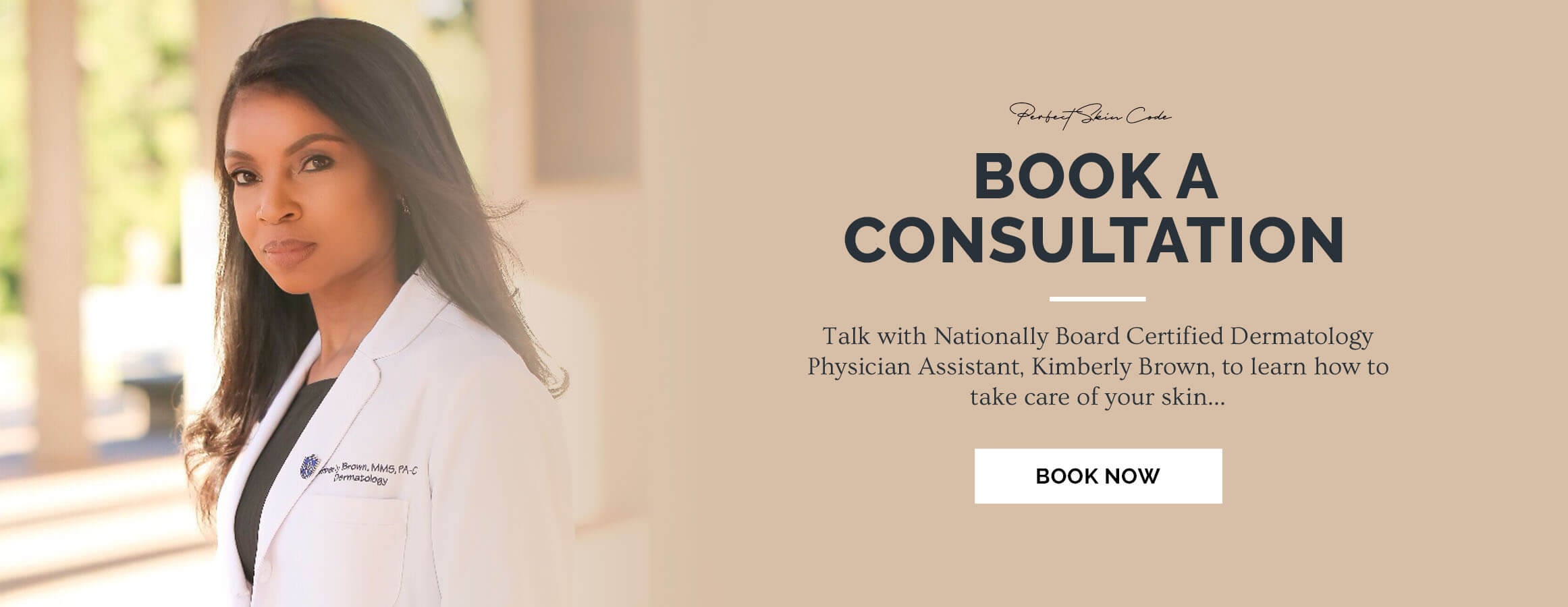 Photo calling people to book a consultation with Kimberly Brown PA-C
